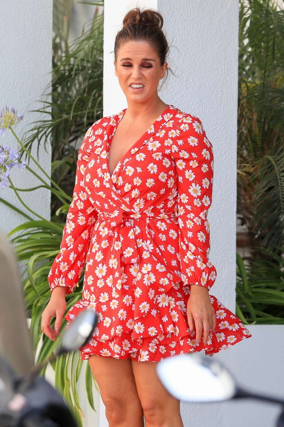 Vicky Pattison in Red Mini Dress - Leaves Ibiza