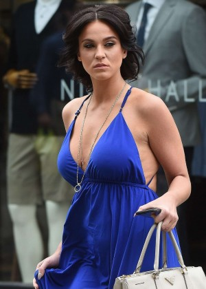 Vicky Pattison in Blue Dress Shopping in London