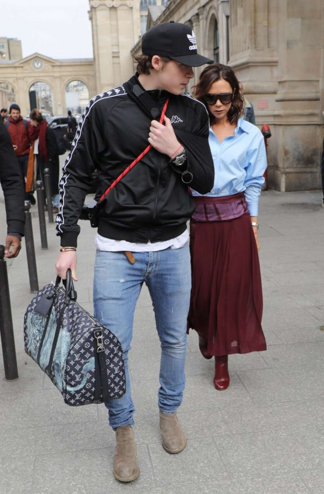 Victoria and Brooklyn Beckham Out in Paris