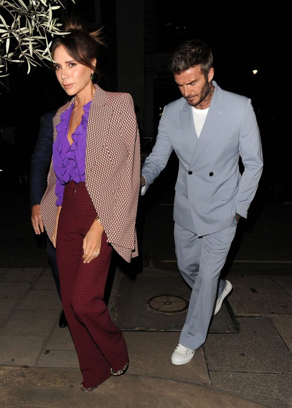 Victoria and David Beckham - Arrives at a private Dinner for Victoria Beckham's London Fashion Week Show