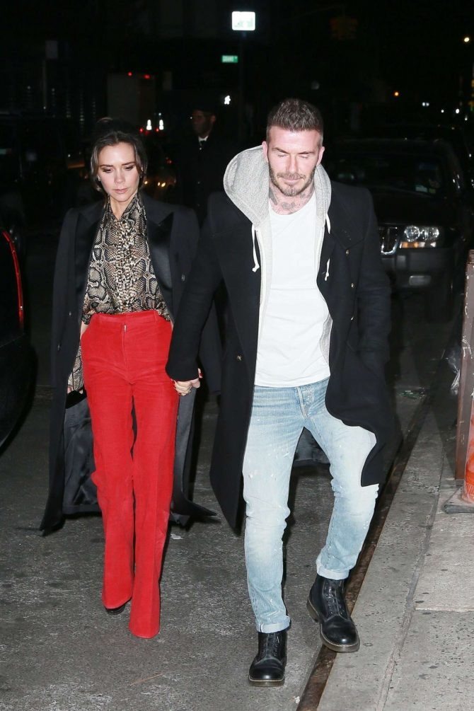 Victoria and David Beckham - Arrives at Victoria's Reebok Party in NYC