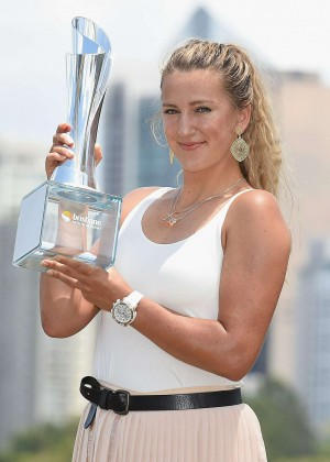 Victoria Azarenka - Championship Trophy during a Photocall in Brisbane
