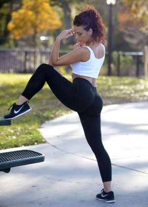 Victoria Banxxx in Tights and Sports Bra Doing Yoga in Miami