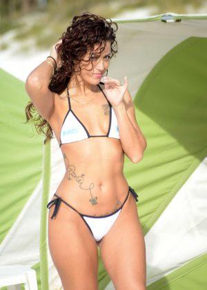 Victoria Banxxx in White Bikini on the beach in Miami
