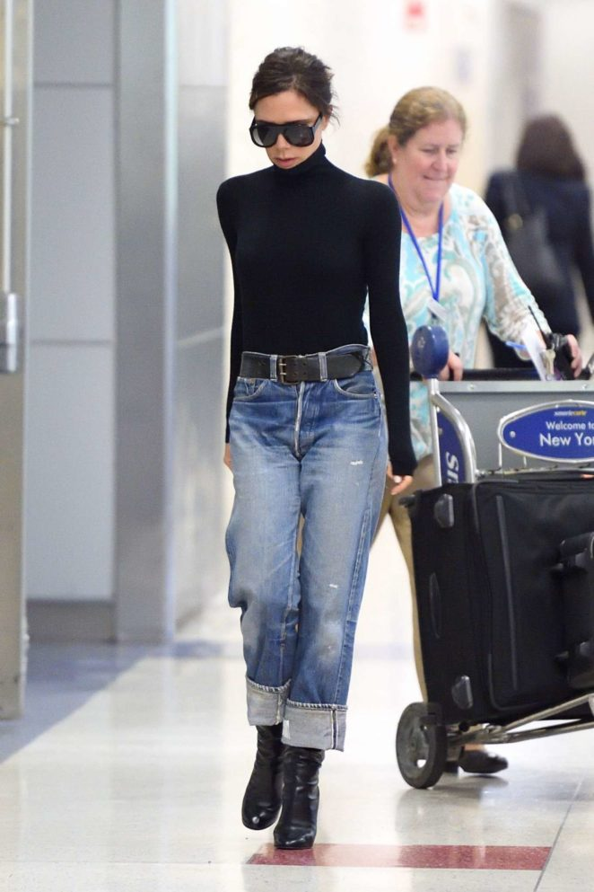 Victoria Beckham - Arrives at JFK Airport in NYC