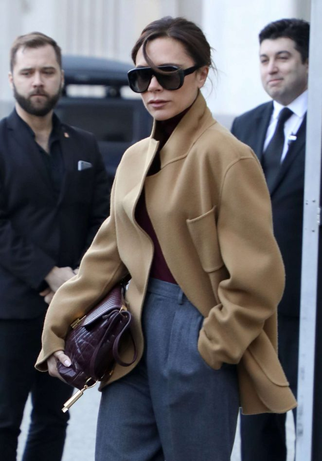 Victoria Beckham in Beige Coat out in New York