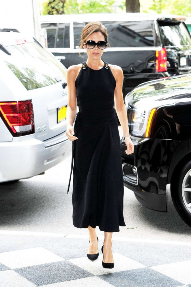 Victoria Beckham in Black Dress Out in New York