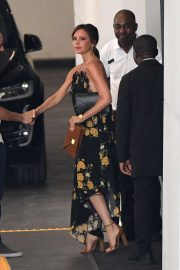 Victoria Beckham in Floral Print Dress - Out in Miami