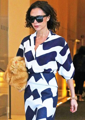 Victoria Beckham in Long Dress out in New York