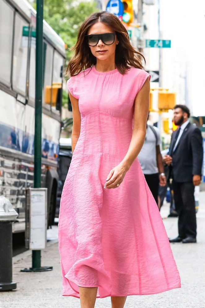 Victoria Beckham in Pink Dress - Out and about in New York City