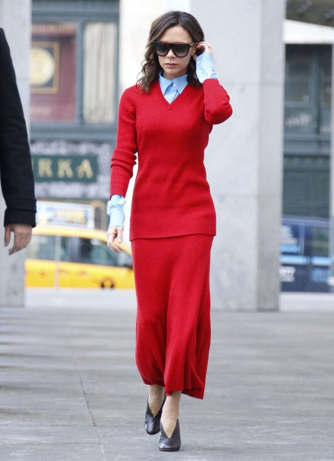 Victoria Beckham in Red Dress Leaves an Office -05