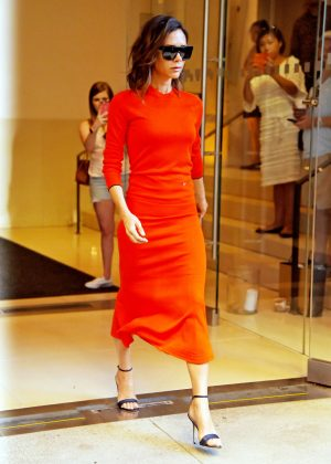 Victoria Beckham in Red Dress out in Manhattan