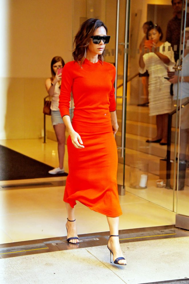 Victoria Beckham in Red Dress out in Manhattan