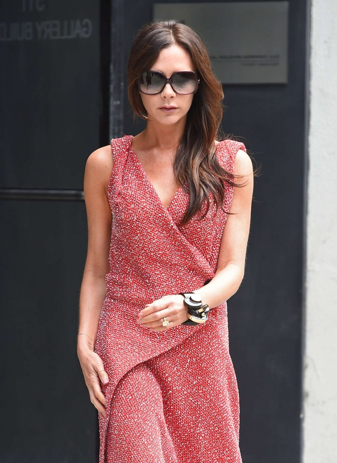 Victoria Beckham in Red Dress Out in NYC
