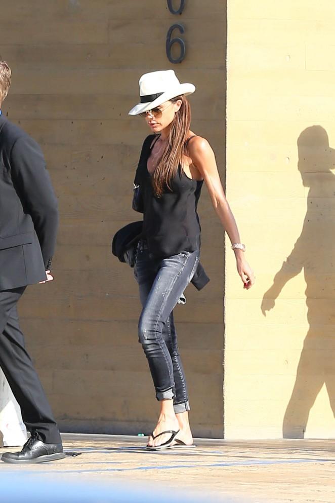 Victoria Beckham in skinny jeans at Nobu in Malibu
