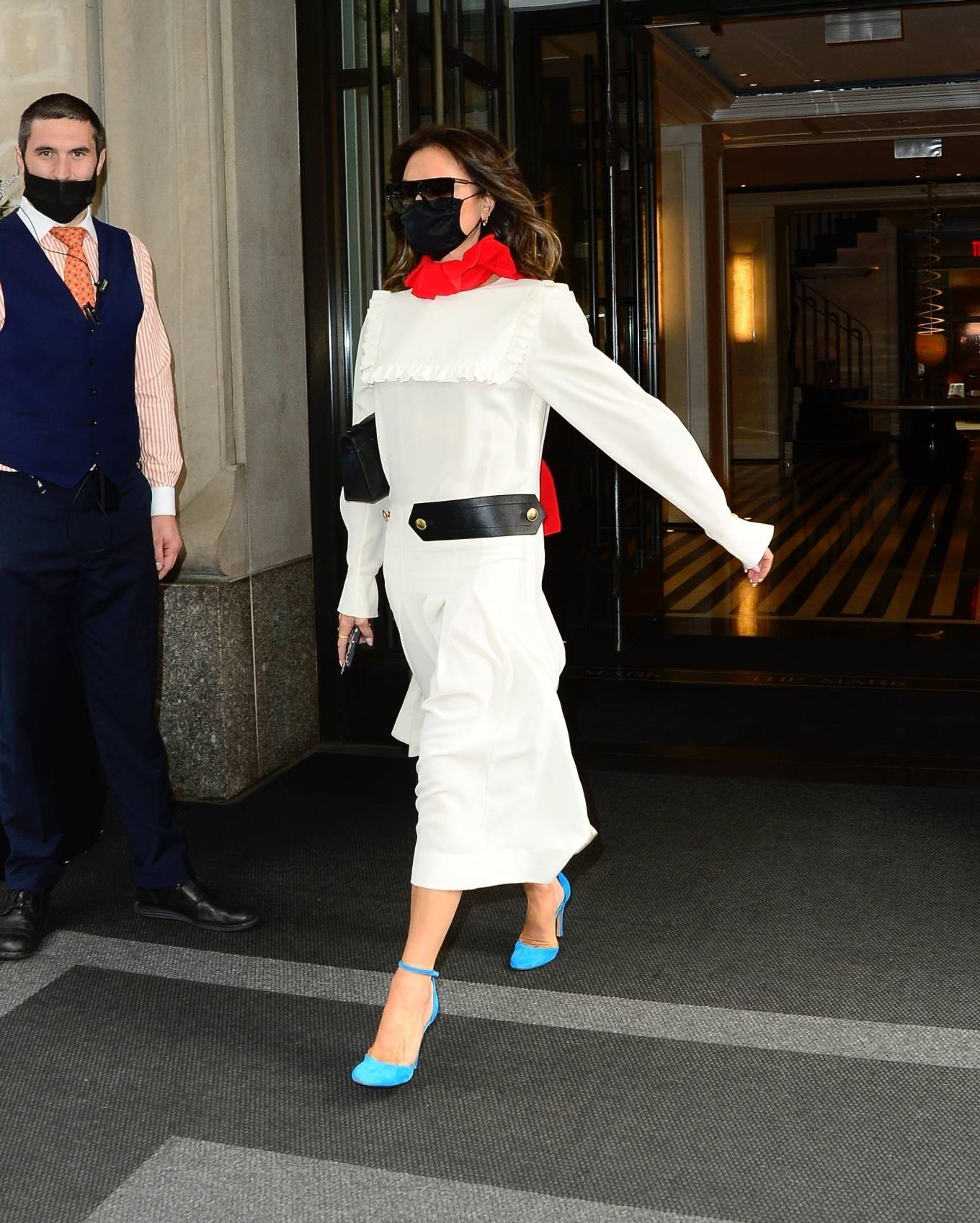 Victoria Beckham - In white maxi dress steps out in New York