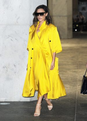 Victoria Beckham in Yellow Coat out in New York
