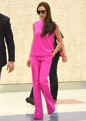 Victoria Beckham in Pink at JFK Airport in NY