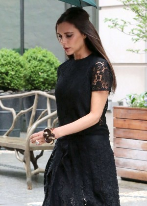 Victoria Beckham in Black Dress Out in NYC