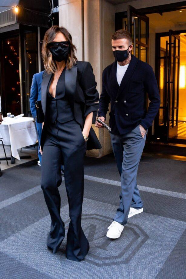 Victoria Beckham - Seen with David Beckham at Carbone Restaurant in New York