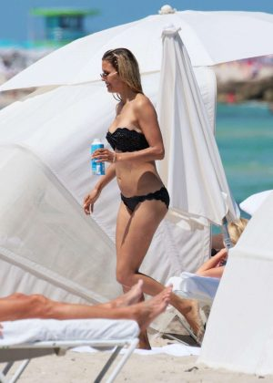 Victoria Bonya in Black Bikini on the beach in Miami