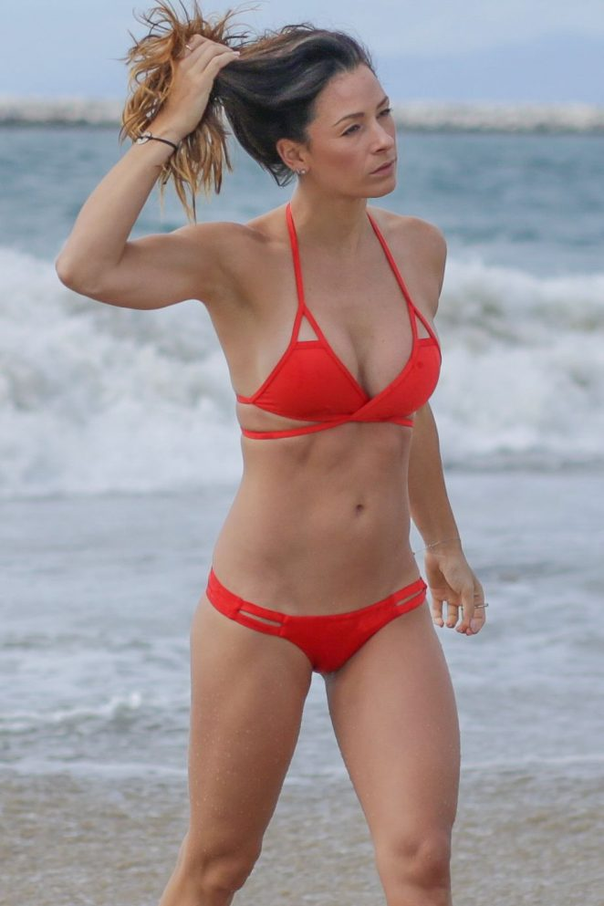 Victoria Brown in Red Bikini on the beach in Los Angeles