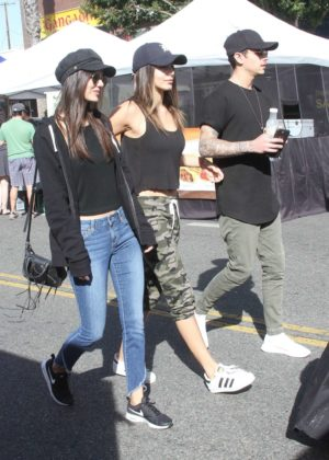 Victoria Justice and Madison Reed at the local farmer's market in Studio City