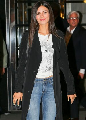 Victoria Justice arrives for dinner in New York