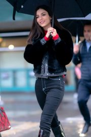 Victoria Justice - Braves the rain in New York