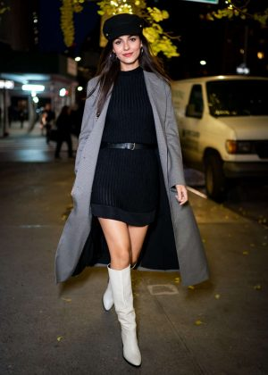 Victoria Justice in Black Mini Dress - Out in New York