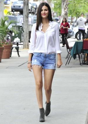 Victoria Justice in Denim Shorts Out in LA
