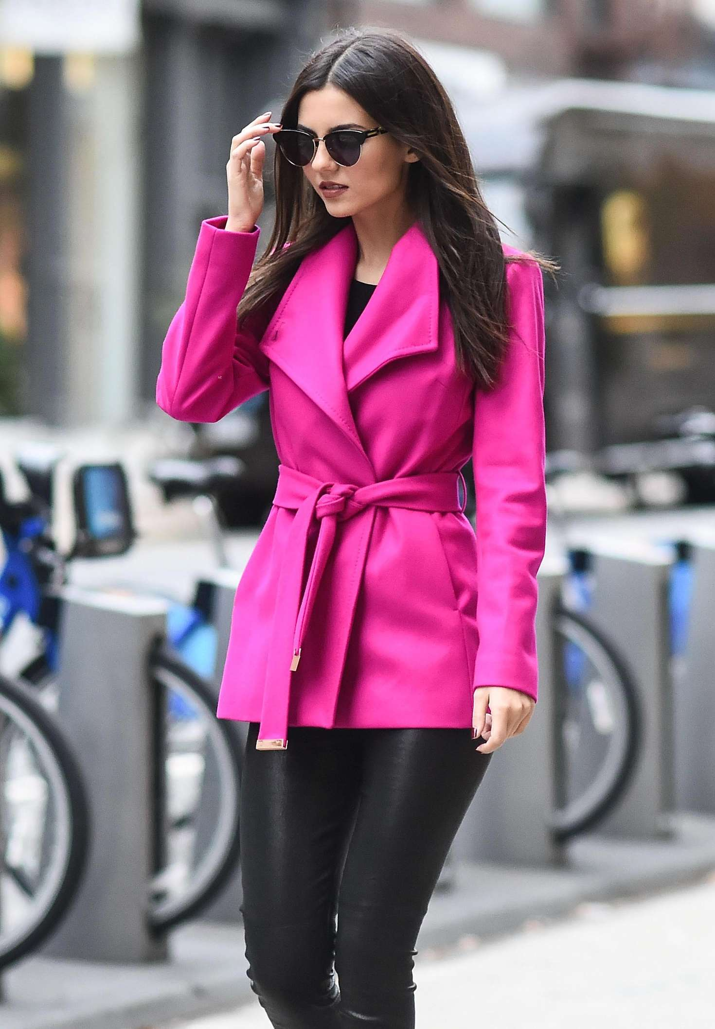 Victoria justice in pink coat out new york city