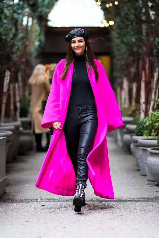 Victoria Justice in Pink Long Coat - Out in New York