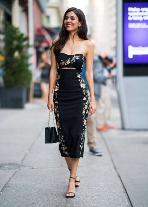 Victoria Justice in Print Dress - Out in New York