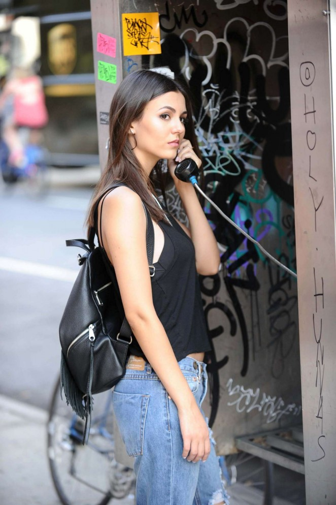 Victoria Justice in Ripped Jeans Out in East Village