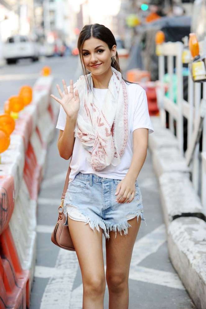 Victoria Justice in Jeans Shorts Out in NYC