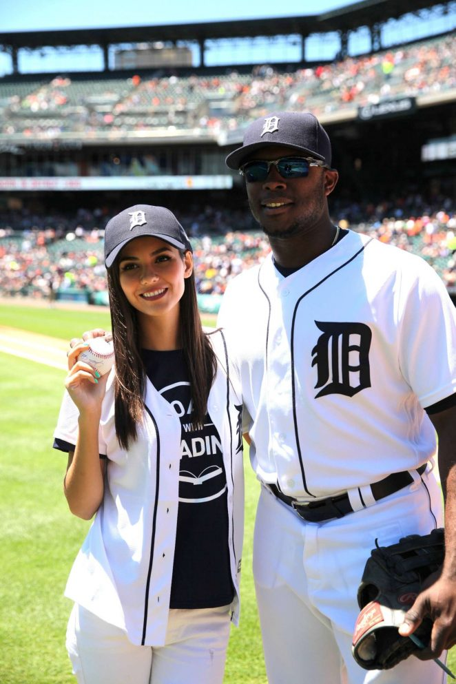 Victoria Justice - Throwing the first pitch at the Detroit Tigers game in Detroit