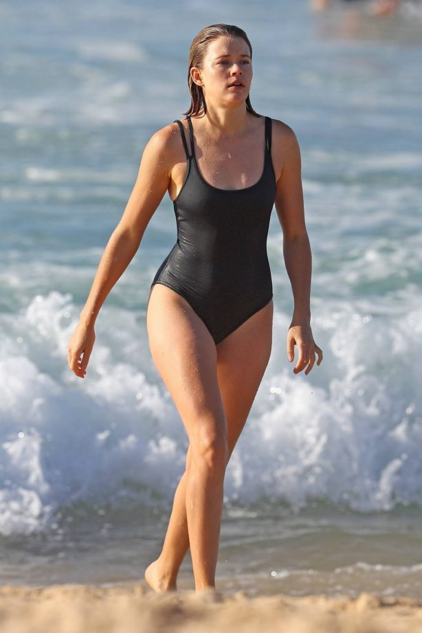 Victoria Lee - In a black one-piece swimsuit at the beach in Sydney wearing