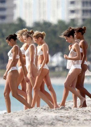Victoria's Secret Models on the set of Shoot a Commercial in Miami
