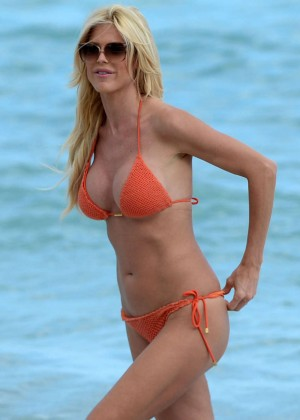 Victoria Silvstedt in Orange Bikini on Miami Beach