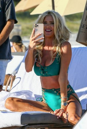 Victoria Silvstedt - In a green bikini celebrating a friend's birthday in Miami Beach