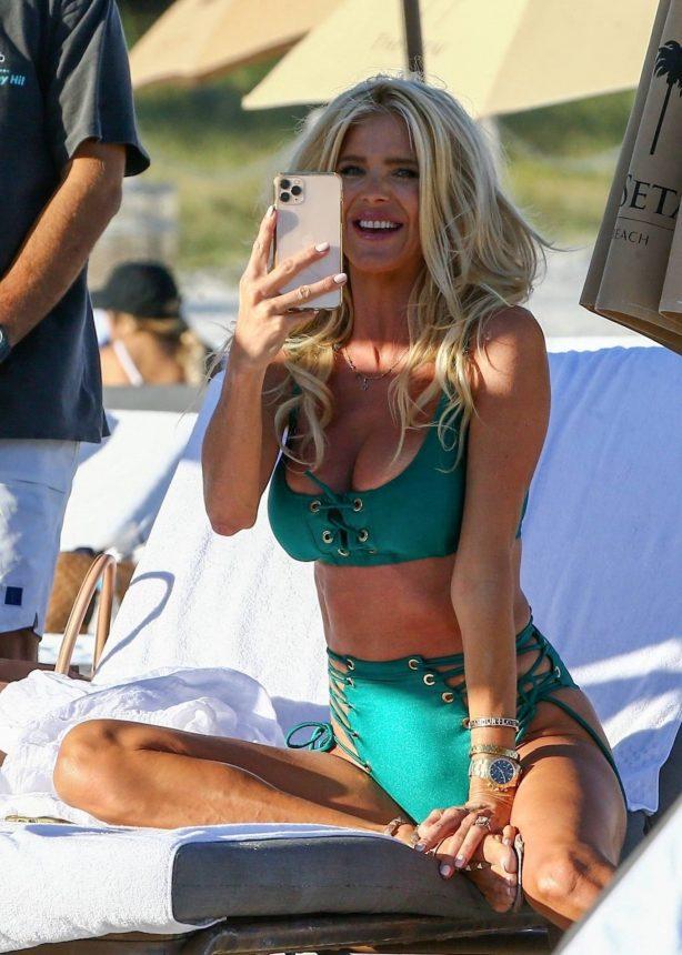 Victoria Silvstedt - In a green bikini celebrating a friend's birthday in Miami Beach