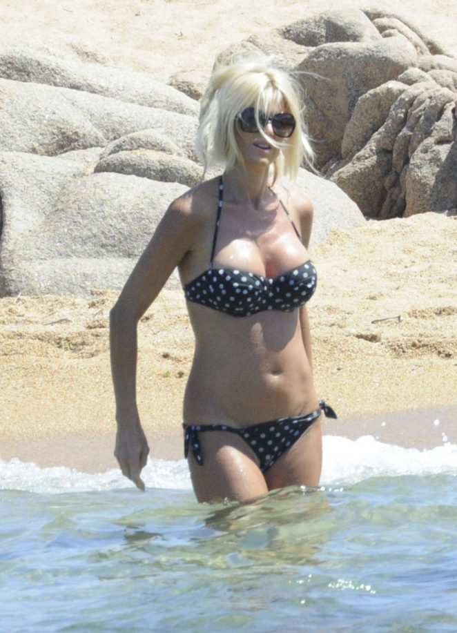 Victoria Silvstedt in Bikini on the beach in Sardinia