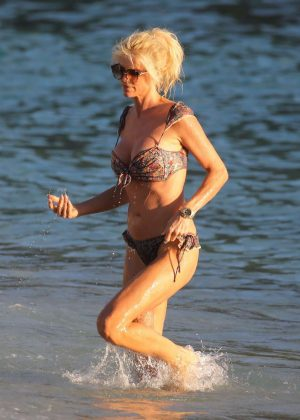 Victoria Silvstedt in Bikini on the beach in St. Barts