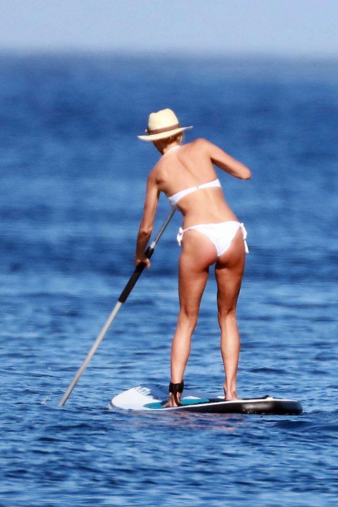 Victoria Silvstedt in Bikini Paddleboarding in Saint Tropez