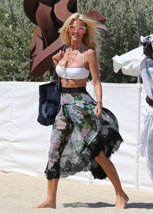 Victoria Silvstedt in Bikini Top - Arriving at Club 55 in St. Tropez