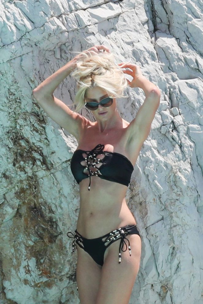 Victoria Silvstedt in Black Bikini at a pool in Antibes