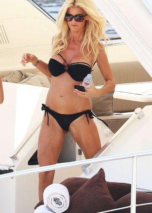 Victoria Silvstedt in Black Bikini on a yacht in Monaco