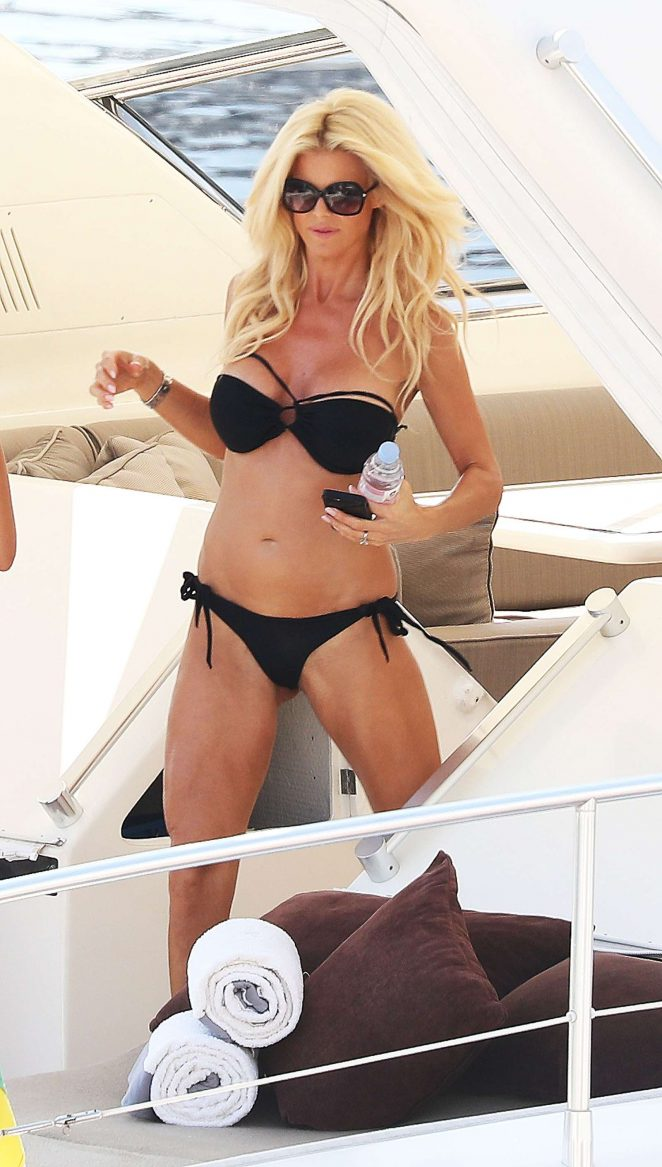 Victoria Silvstedt in Black Bikini on a yacht in Monaco
