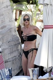 Victoria Silvstedt in Black Bikini on the beach in St Barths